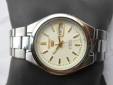 RARE VINTAGE SS SEIKO 5 JAPAN GENTS DAY DATE SEE THROUGH AUTOMATIC WRISTWATCH