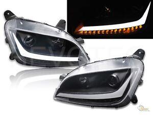 Black LED Bar Projector Headlights w LED Signal For Peterbilt 11-19 579 587