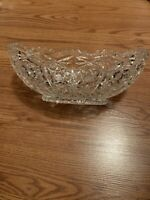 Vintage Crystal Serving Bowl Oval  Boat Shape Lead Large Trim, Heavy From Europe