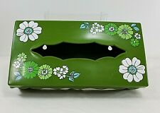 Vintage Wolff Products Plastic Hinged Tissue Box Cover - Green w/ Floral Design