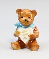 9942288 Porzellan Figur Teddy blau mit Herz Alles Liebe Wagner&Apel H11cm