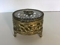 VINTAGE FILIGREE BRASS CASKET JEWELRY TRINKET BOX ~ Glass Top