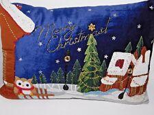 New Pier 1 Heavily Beaded Christmas Pillow with Owl & Winter Christmas Scene