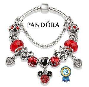 New Authentic Pandora Charm Bracelet red crystal mickey Minnie beads silver
