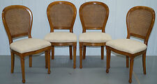 Bois cerisier RRP £ 2400 grand France SETOF OFUR chaises BERGER en rotin