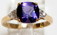 14K Yellow Gold Cushion cut Amethyst=2.00 ct. and Diamond=.12 ct Ring size 7 1/2