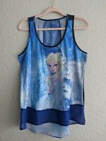 Disney Frozen Women's Sequin Sleeveless Hi- Lo Tank Top Blouse Elsa Blue Sz XL