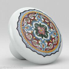 Round Talavera Design Ceramic Knobs Pulls Kitchen Drawer Cabinet Dresser 1213