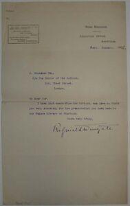 Reginald Wingate signed letter 1902 from Khartoum Sudan - UK African administatr