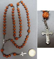 Chapelet  début 20e siècle en perles de bois graine croix rosary