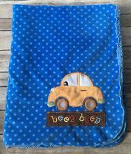 Small Wonders Baby Blanket Blue Car Beep Beep Sherpa Dots