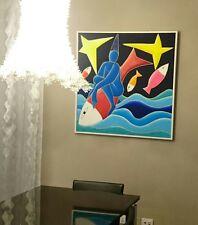 bellissimo Giancarlo Montuschi 100 x100 incorniciato olio acrilico sabbia tela