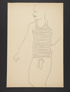 Andy Warhol Rare Vintage 1950s Original Standing Male Line Drawing TOP203.077