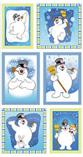 "Christmas Frosty The Snowman Snow Cotton Fabric QT Silly Snowman - 24""X44"" PANEL"