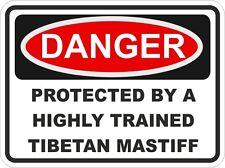 Dog Breed TIBETAN MASTIFF Danger Sticker Pet For Bumper Locker Car Door