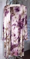 NEW Plus Size 1X Purple Brown Open Cardigan Duster Topper Tie Dye Kimono