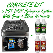 6 POT DRIP HYDROPONIC BUBBLEPONIC DWC PLANT GROW SYSTEM with GROW+BLOOM NUTRIENT