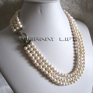 """20-22"""" 6-8mm White 3row Freshwater Pearl Necklace Strand Necklace A U"""