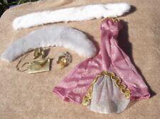 1990s Barbie Shiny Mermaid Gown Faux Fur Wraps Crown Shoes Purse Flaw lot 8