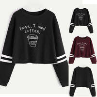 Fashion Women Crew Neck Sweatshirt Crop Tops Long Sleeve Casual Pullover Blouse