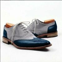 Handmade Men wing tip two tone formal shoes, Men gray and Blue dress shoes