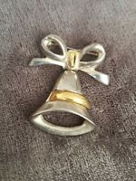 Vintage silver & goldtone Bell And Bow Pendant Brooch pin sweetheart