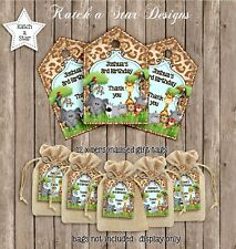 JUNGLE ANIMALS BIRTHDAY PARTY PERSONALISED THANK YOU TAGS X 12