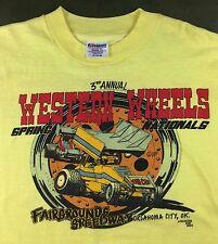 Vintage Mens XL 1983 Sprint Car Racing Western Wheels Spring Nationals T-Shirt