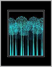 Teal Black Tree Art Photo Print Stylized Home Decor Picture w Black 11 x 14 Mat