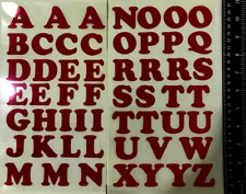 "Iron On Letters Appliques 1.22"" Tall Fashion Art 54-Pieces Fabric Alphabet Red"