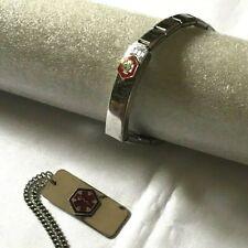Vintage Set Men's Diabetic Medic Alert Stretch Band Bracelet & Necklace     B9