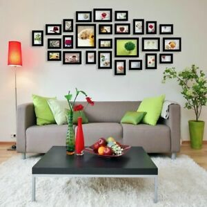 26 pcs Picture Photo Frame Set Wall Black Home Decor Art Colour Gift