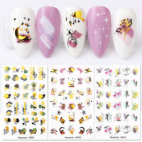 Nail Water Decals Gold Colorful Flower Pattern Nail Art Stickers Decoration DIY