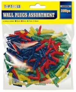 300 x Wall Plugs Assorted Raw Rawl Plugs Rawlplugs Set Screws 5mm 6mm 7mm 8mm