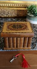 Rare ANTIQUE 19C SORRENTO OLIVEWOOD PUZZLE JEWELLERY BOX hidden compartment key
