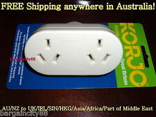 Korjo Double Travel Plug Adaptor-AU Australia to UK Great Britain HK SIN Charger