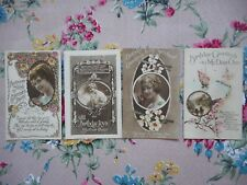 Four, set unused vintage birthday greetings postcards, 'Mother' and 'Sweetheart'