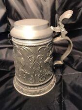 "Vintage Pewter Reins Zinn 92% 8 1/2"" tankard beer pitcher stein with lid Marked"