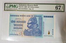 2008 ZIMBABWE 100 Trillion PMG67 EPQ SUPERB GEM UNC Prefix AA {P-91}