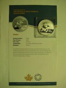 2014 10 Yuan China Panda from F15 Set 1oz .999 silver fabulous fifteen