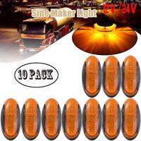 10x Amber Lens 4 LED Side Marker for Boat Truck Trailer Clearance Light 12V 24V