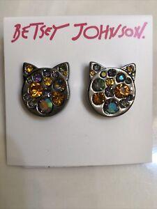 Betsy Johnson Silver Tone Skulls & Kitty Stud Earrings Crystal Accents NWT