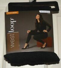New Womens size Small/Medium 4-8 Black Textured Fleece Leggings Poly/Spandex