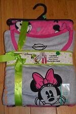 Disney Minnie Mouse Women's Pajama PJ 2 Piece Set Minky Fleece XXL 18-20 NWT