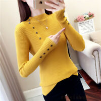 New Autumn Winter Womens Pullover Knit Sweater Basic T Shirt Buttons Tops Blouse