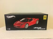 Hotwheels Ferrari Elite 458 Italia Spider Red NEW W1177 1/18 Rare Mattel