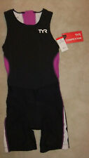 TYR Female Triathlon suit with back zipper - Black/Purple/White - Small