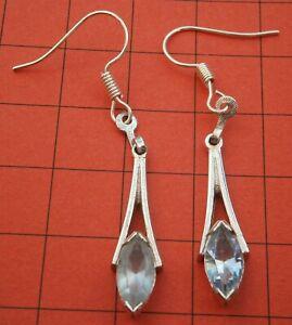 G576) Vintage Avon light blue cut glass Art Deco Style drop hook earrings