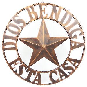 "26"" DIOS BENDIGA ESTA CASA Metal Barn Star With Ring Wall Mount Plaque Sign"