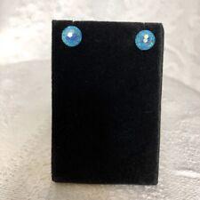 Blue Disco Ball Stud Earrings